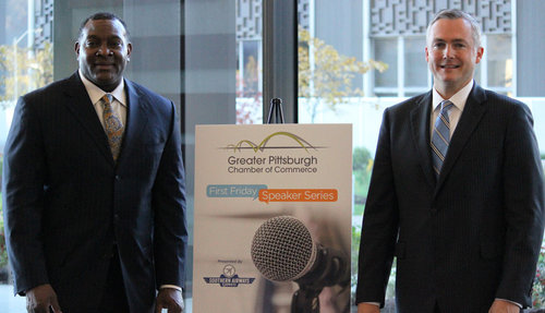 Pittsburgh Public Schools  Superintendent Dr. Anthony Hamlet and GPCC President Matt Smith at the GPCC's First Friday Speaker Series.