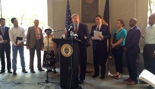 GPCC Manager of Government Affairs Brandon Mendoza joined Allegheny County Executive Rich Fitzgerald, Pittsburgh Mayor William Peduto and others at a press briefing announcing a report on the economic impact immigration has on the Pittsburgh region.