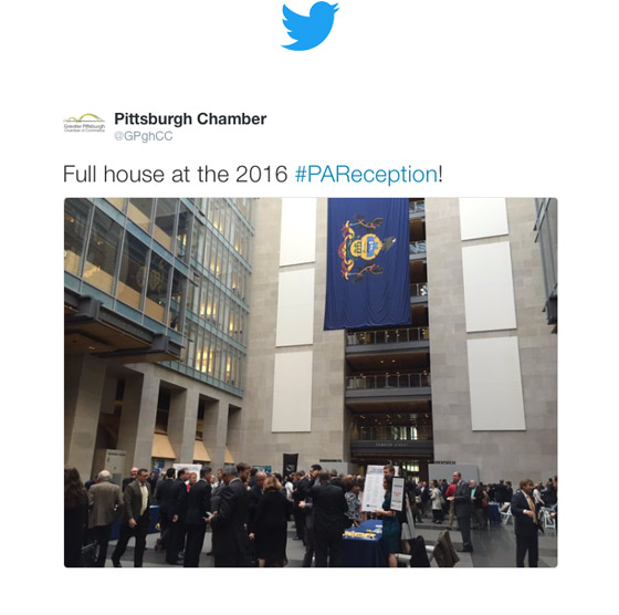 Greater Pittsburgh Chamber of Commerce Tweets on PA Reception
