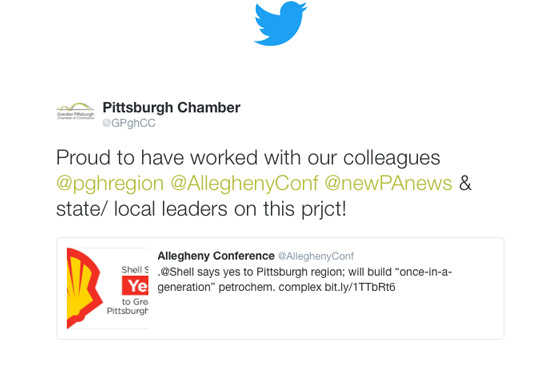 Greater Pittsburgh Chamber of Commerce Tweets on Shell project